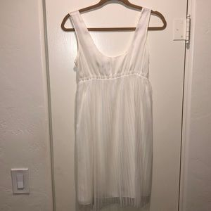 Vera Wang Cream Pleated Dress